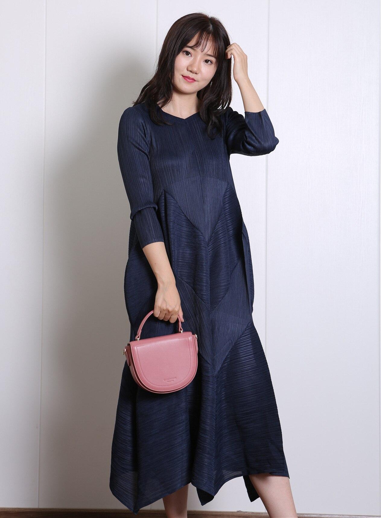 Arrugado moda ajustada manga larga Miyak Pleats vestido cómodo Casual vestido