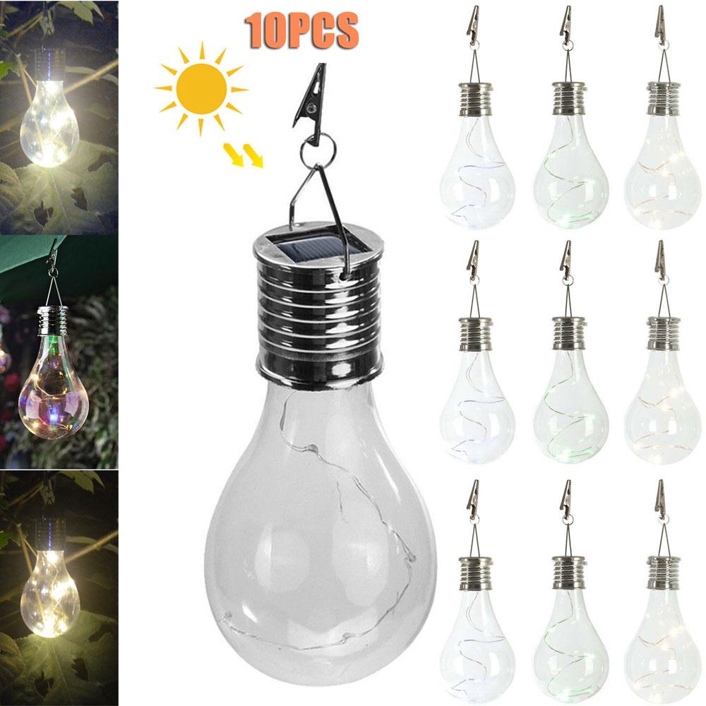 10Pcs Solar Powered LED Light Bulbs Lantern Spotlights Portable Rotatable Lamp Bulb Open-air bar Christmas decoration Hang Ligth