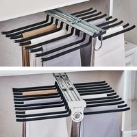 top install side install trousers rack telescopic pants rack push pull damping double row cabinet pant racks thicken hardware