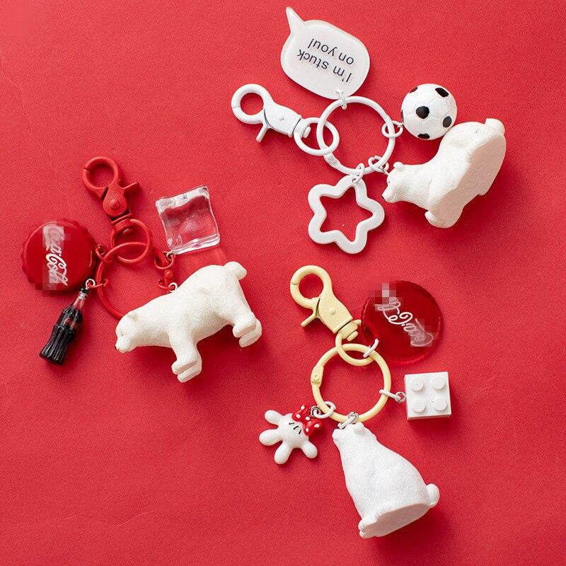 Bonito urso branco coque chaveiros criativo manual cubo de gelo garrafa de coque chaveiro saco charme pingente acessórios jóias presente venda quente
