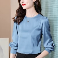 2021 jacquard silk women shirts satin long sleeve womens blouses red womens tops and blouses button blusas para mujer