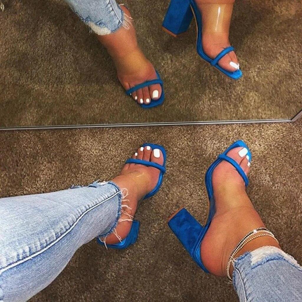 Nuevas sandalias de mujer, sandalias transparentes de PVC con tacones transparentes para mujer, tacones claros, sandalias de verano, zapatos de tacón, tallas 41 42, Drop 12