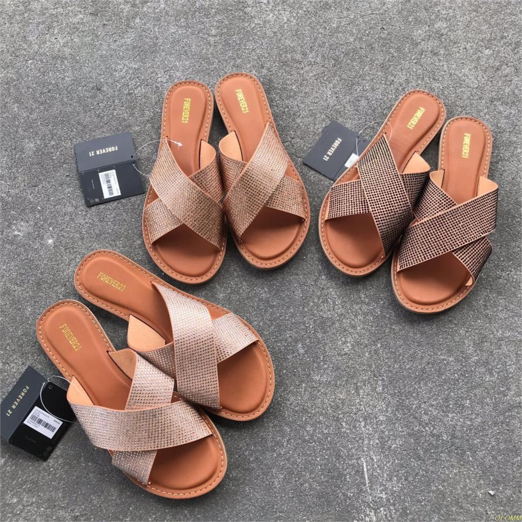 2019 mujer verano tiras gladiador bajo talón plano chanclas playa Sandalias Zapatos Mujer Sandalias Mujer Zapatos diamantes de imitación