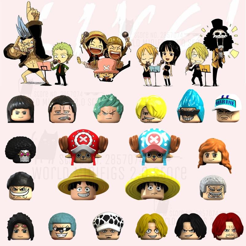 Bloques de la serie Anime de una pieza, figuras Franky de Luffy Chopper Zoro Nami Usopp Sanji Nico Brook, cabezas Juguetes de bloques de construcción para niños