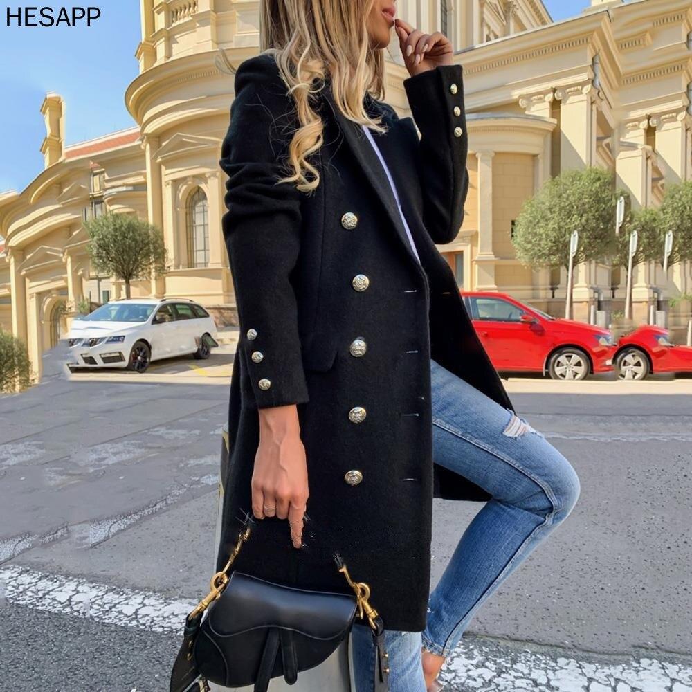 Hesapp Mixed false wool ladies long coat double chest deep trench collar Elegant retro ladies + size