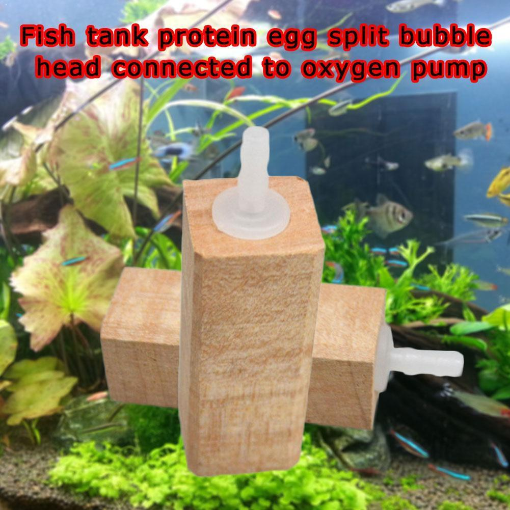Tanque de piedra de Gas de madera proteína huevo burbuja cabeza bloque piedra suministros bomba de oxígeno pez Skimmer proteína tanque Fizz acuario I6P2