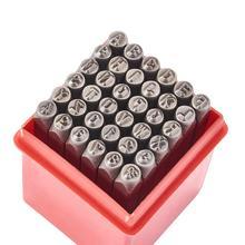 Timbres de sceau en fer comprenant la lettre A ~ Z numéro 0 ~ 8 et lampersand & noir 60x6mm 63x8mm; 36 pièces/boîte