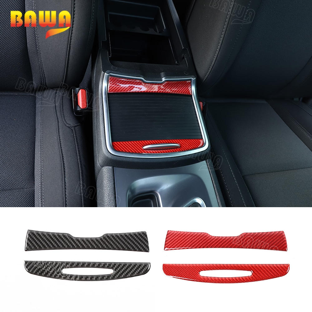 BAWA, molduras interiores para portavasos de coche, cubierta de fibra de carbono, pegatinas decorativas, accesorios para Dodge Charger 2015 +