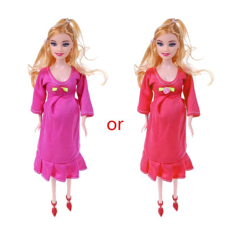 1 Uds. Muñeca de madre embarazada de pelo marrón Real que tiene un bebé en la barriga para muñecas barbie juguete infantil regalo JUN 57BF