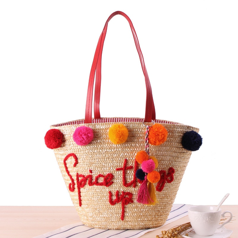 New Embroidered Letters Straw Women Shoulder bag Colorful Puffer Balls Beach Handwoven Women Hanbags Big Bucket Women's Bag 202