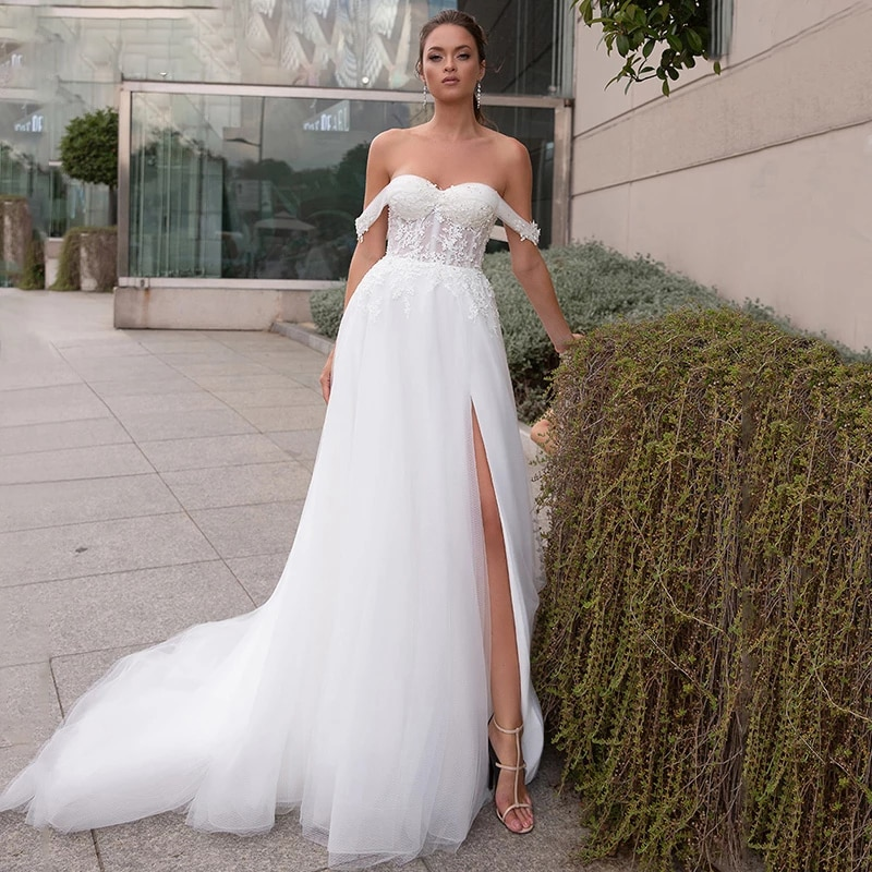 Promo Luxury A-Line Wedding Sleeveless 3D Three-dimensional Applique Charming Gowns Tube Top Backless Sexy High Split