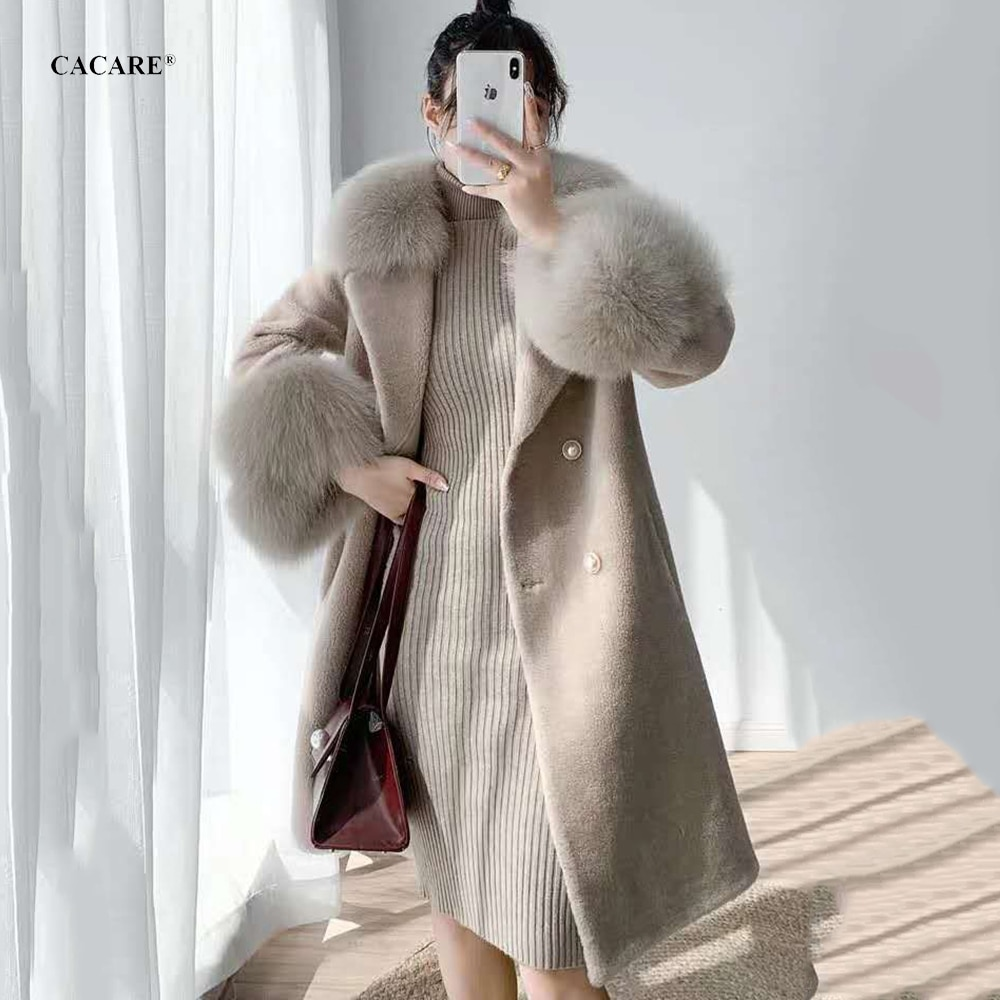 CACARE طويل الصوف معطف جاكيتات النساء الدافئة موضة الخريف الشتاء معاطف الإناث مع انهاء الخدمة الثعلب الفراء F0150 2 ألوان