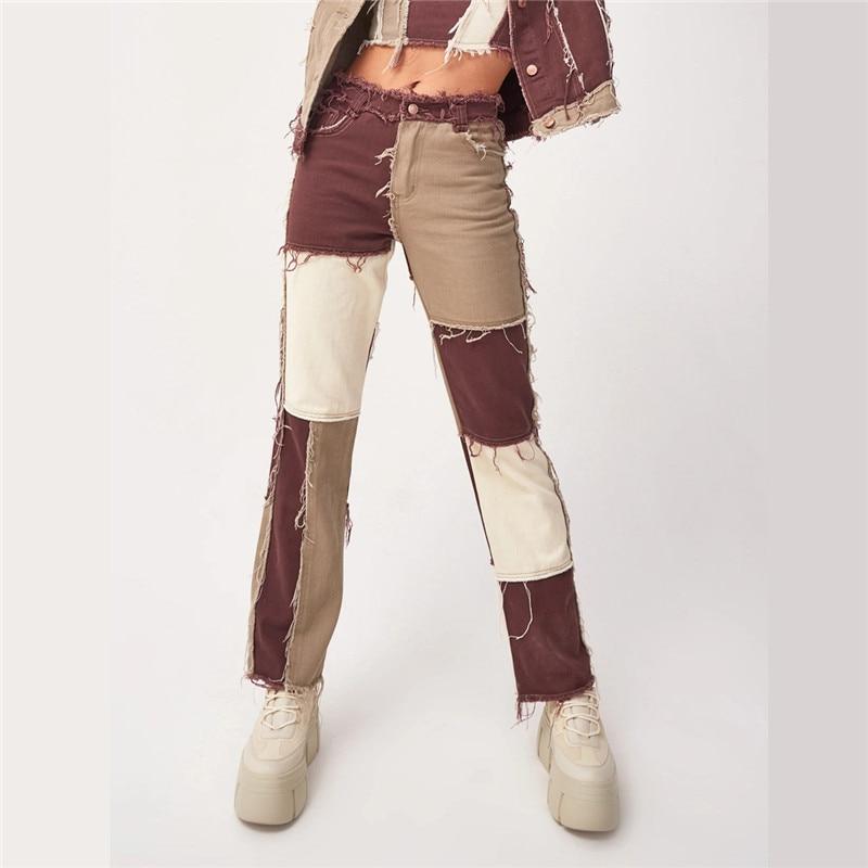 Autumn Patchwork High Waist Straight Denim Pants Women Casual Skinny Ripped Jeans Capris Pocket Long