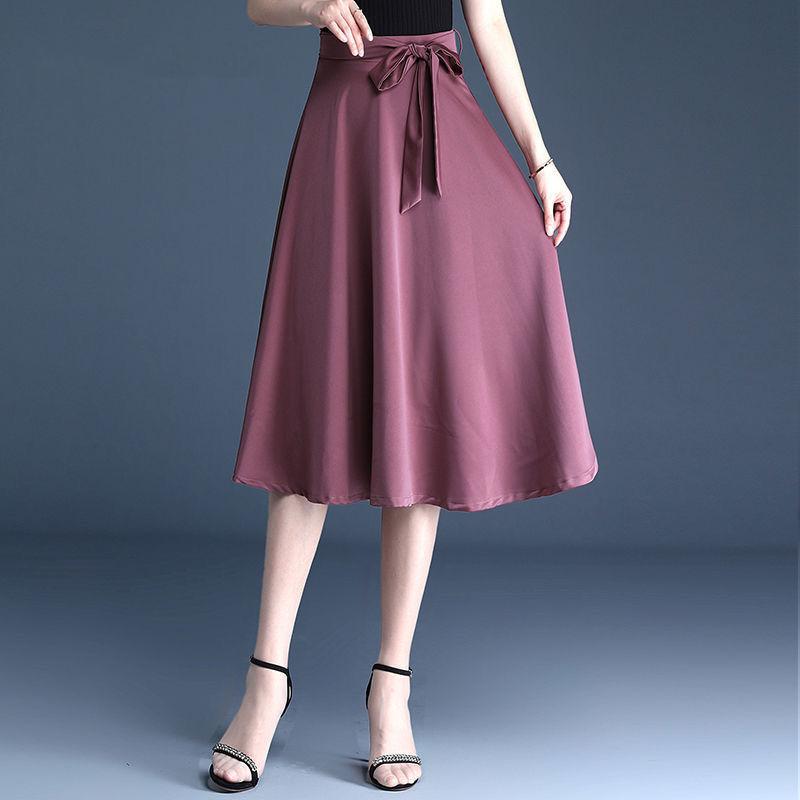 FairyShely 2021 المرأة طويلة جديدة لربيع وصيف تنورة رقيقة شريط مرن تنورة عالية الخصر الأرجواني ماكسي مكتب سيدة حزام تنورة