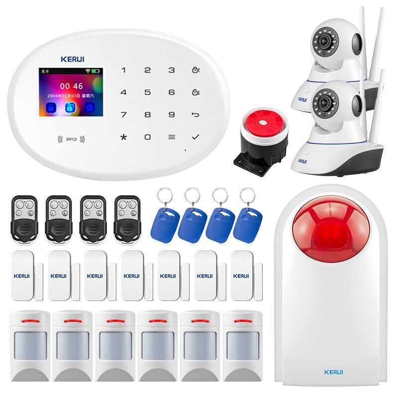 Kerui w20 wifi gsm sistema de alarme da câmera segurança 2.4 Polegada tft tela colorida controle app rfid cartão detector movimento alarme do assaltante