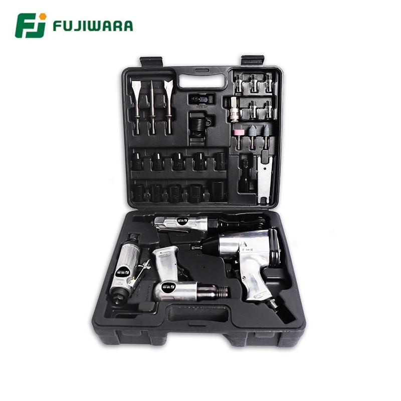 FUJIWARA 4 قطعة مجموعة أدوات تعمل بالهواء المضغوط ، مجرفة الهواء 600N.M مفتاح العزم ، 68N.M اسئلة وجع ، ماكينة الطحن مطرقة هواء تعمل بالهواء المضغوط