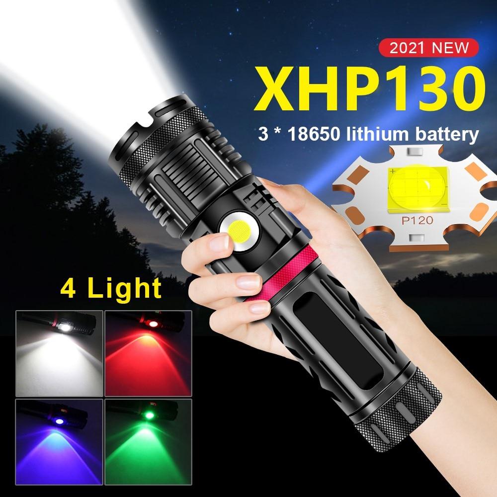 lanterna led poderosa xhp130 de 18650 lm lanterna recarregavel por usb e a prova