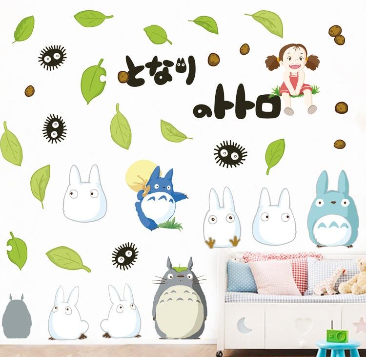 EWAYS, pegatinas para muro temático de juegos de dibujos animados, TOTORO, pegatinas para pared, herramientas desoradas para habitación