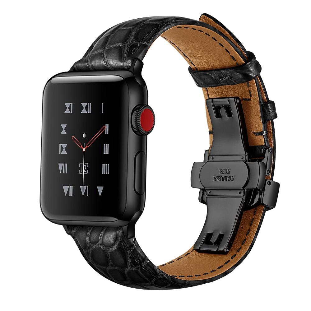 France alligator leather strap for Apple watch band apple watch 6 44mm 40mm iwatch band 5 4 3 2 1 42mm 38mm TOP Process bracelet enlarge