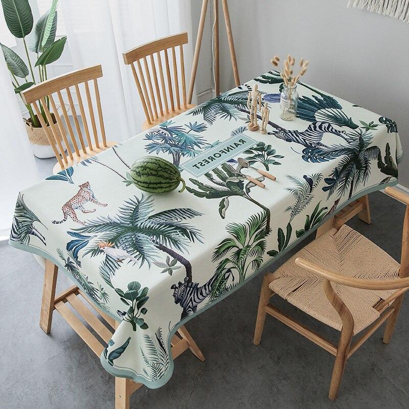 Manteles de mesa rectangulares con cubierta impermeable de lino de algodón para mantel de mesa, mantel de planta de tela de aceite, mantel de decoración de PVC antimanchas