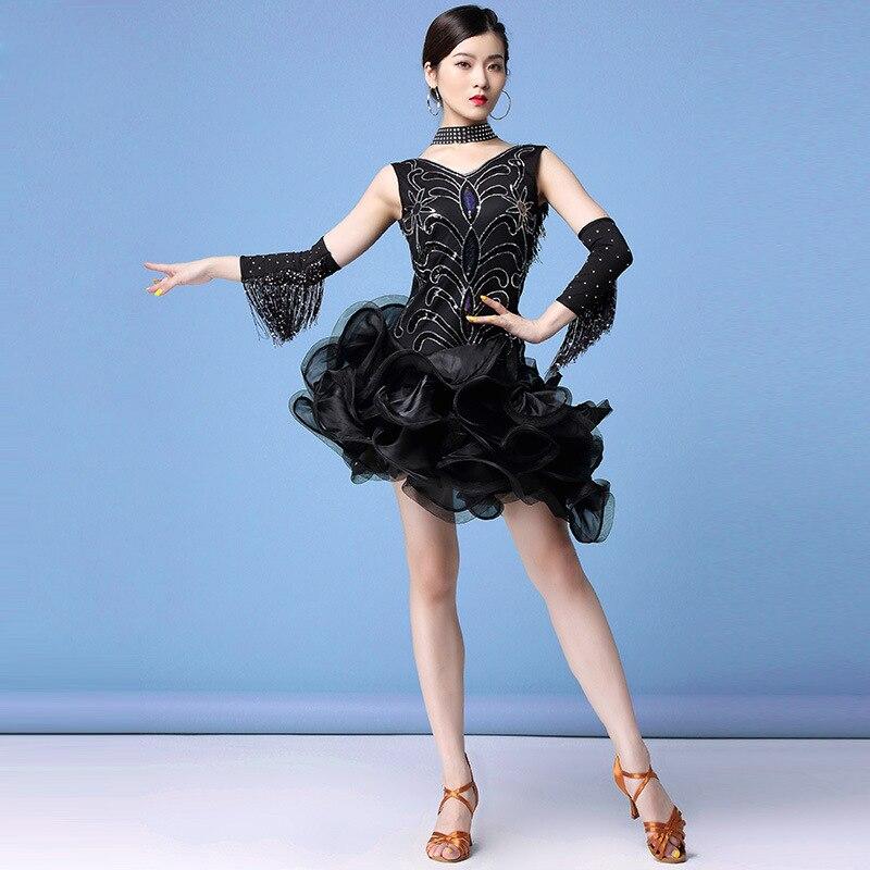 Ropa de baile para mujer Mini vestido tutú Salsa traje Samba sin mangas lentejuelas una pieza vestidos latinos (vestido + guantes + collar)