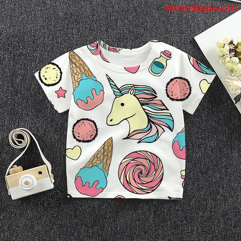 Детские футболки с рисунком единорога, Детская летняя одежда, футболки с графическим 3d-рисунком в стиле Харадзюку, топы, Забавные футболки д...