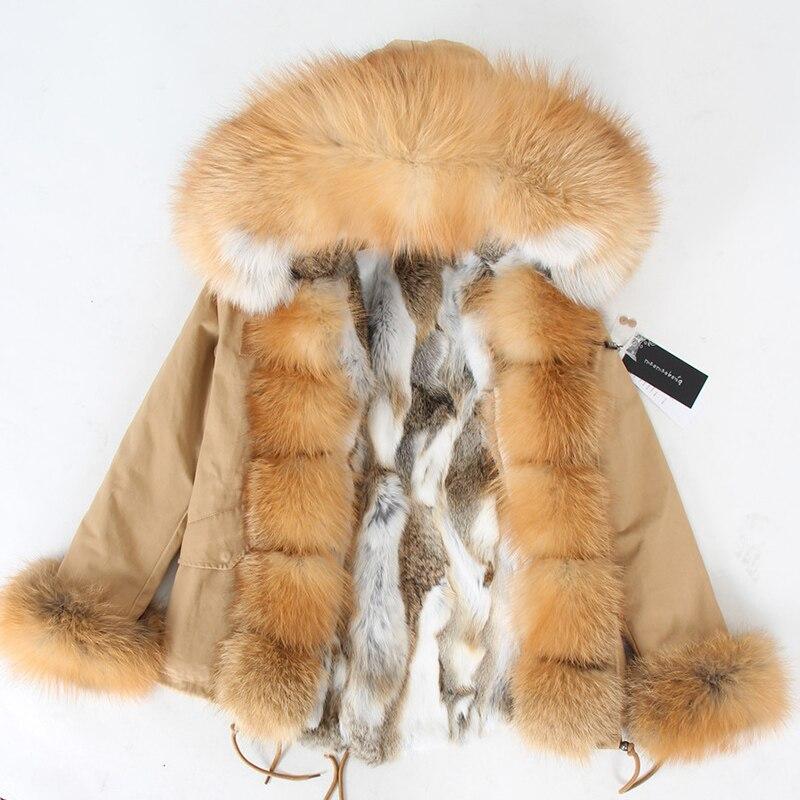 الأرنب الطبيعي الفراء اصطف مع القطن معطف الفرو الشتاء الإناث الدافئة بارك سترة نسائية المرأة معطف المرأة معطف الفرو
