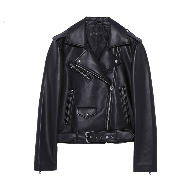 2020 Women Faux Leather Jacket Autumn Winter Ladies Solid Zipper Basic Coat With Belt Turn-down Collar Motor Biker Coat Outwear