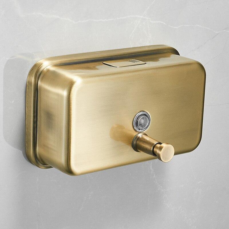Envío Gratis, dispensador de jabón montado en la pared para baño con soporte para crema y champú para ducha de Hotel, Color latón antiguo