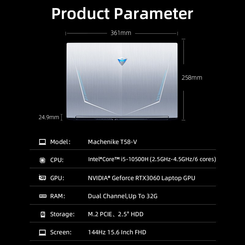 Machenike T58 RTX 3060 Gaming Laptop i5 10500H 16G 512G SSD 144Hz 15.6'' WiFi6 Backlit Keyboard Notebook Computer