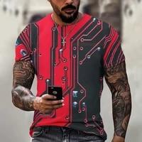 electronic chip pattern oversized loose t shirt men popular rock punk streetwear daily casual o neck summer short sleeve tees