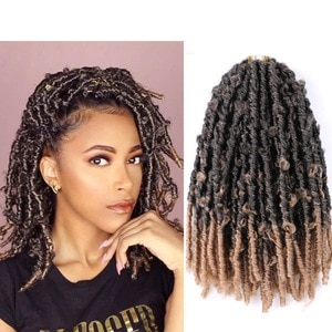 Saisity 14Inch Synthetic Omber Butterfly Faux Locs Crochet Braiding Hair Extensions 20 Strands/pack Natural Black Braiding Hair