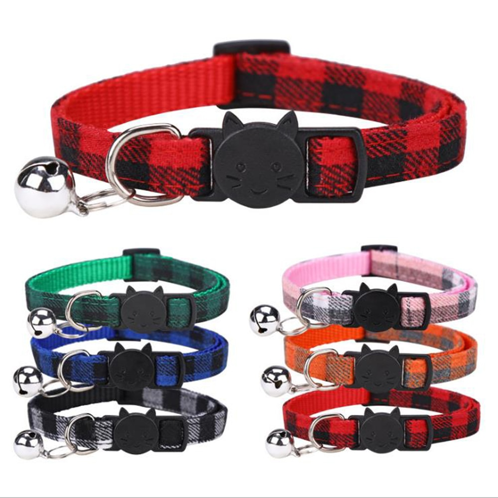 Pet  Collar Safety Buckle Plaid  Collar with Bell Adjustable Suitable Kitten Puppy Accessories Supplies  Buckle Collar contrast tied bell cuff and collar plaid dress
