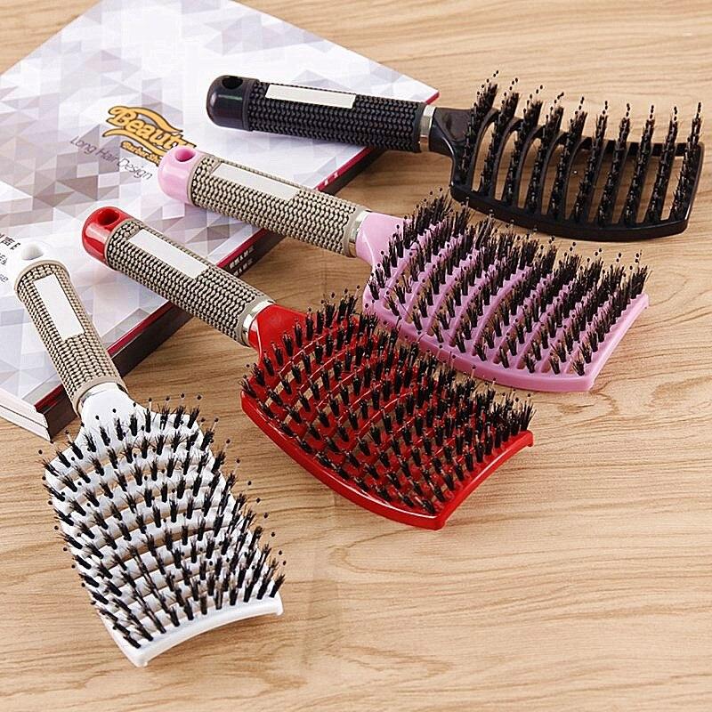 Escova de cabelo para cabeleireiro, escova de cabelo em nylon com cerdas, massageador, molhado, encaracolada, para cabeleireiro, ferramentas de estilização, 1 peça