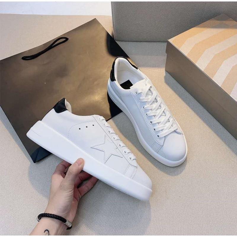 Women Flat White Brand Sneakers 2021 Casual Genuine Leather Lace Up Females Vulcanized Running Sport