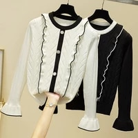 ljsxls winter clothes ruffles knitted sweaters pullovers autumn women jumper sweater pull femme flare sleeve korean tops 2020