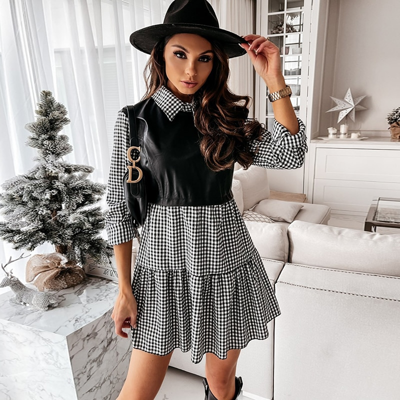 Casual Long Sleeve Mini Shirt Dress For Women White 2021 Spring PU Leather Patchwork Plaid Woman Dre