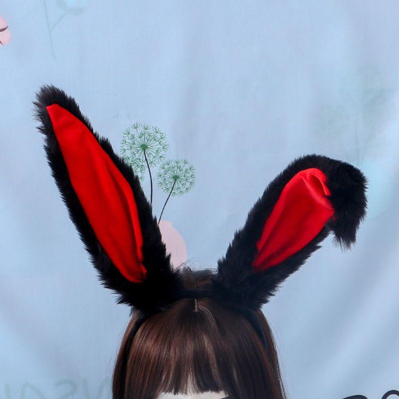 AliExpress - Female Girls Lolita Cosplay Headband Fluffy Plush Sweet Long Rabbit Bunny Ears Bandana Hair Hoop Cartoon Anime Headpiece