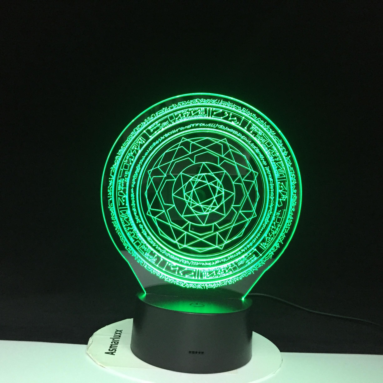 3D LED Israel simple geometría hexágono luz de noche escritorio USB Lámpara de noche decoración creativa del hogar 7 colores gradientes atmósfera 2419