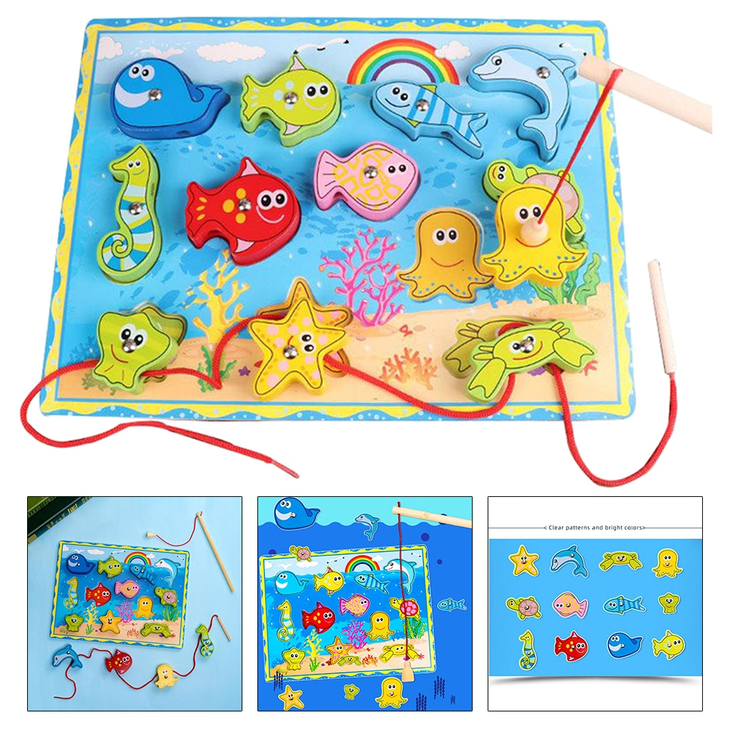 Magnetic Wooden Fishing Game Toy Preschool Puzzle Board for 3 4 5 Year Old