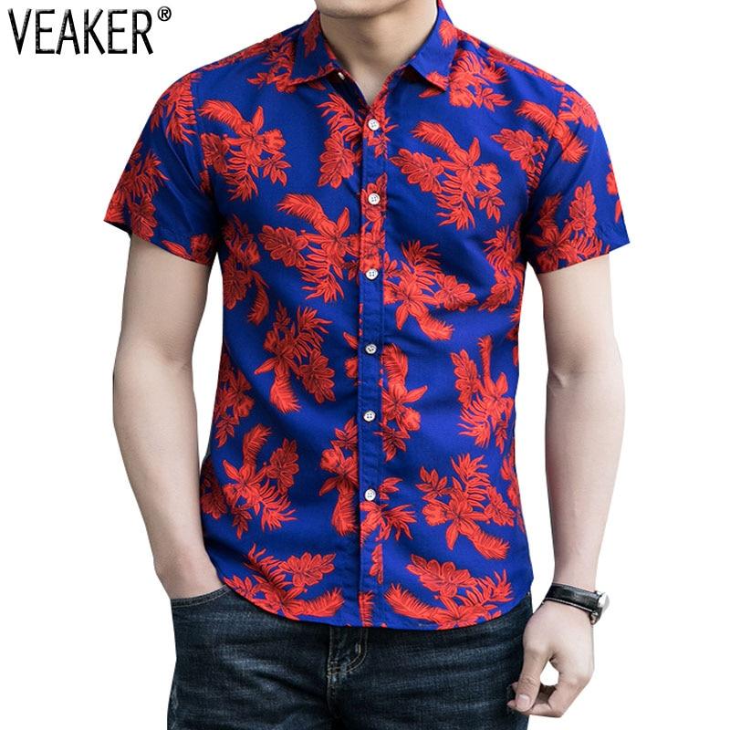 ¡Novedad de 2020! Camisas de verano con estampado Floral para hombre, camisas de manga corta entalladas para hombre, camisetas con estampado de flores, M-3XL
