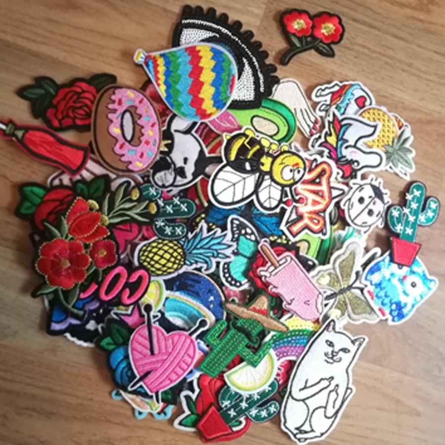 10/20 unids/lote mezclado al azar conjunto de parches de hierro coser parches de dibujos animados lindo bordado Applique parches para ropa parche pegatinas