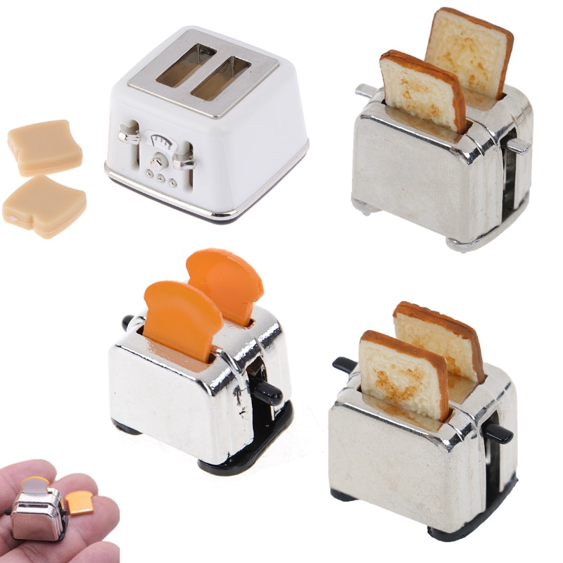 1/12 Scale Dollhouse Bread Machine With Toast Miniature Cute Decorations Toaster Dollhouse Mini Acce