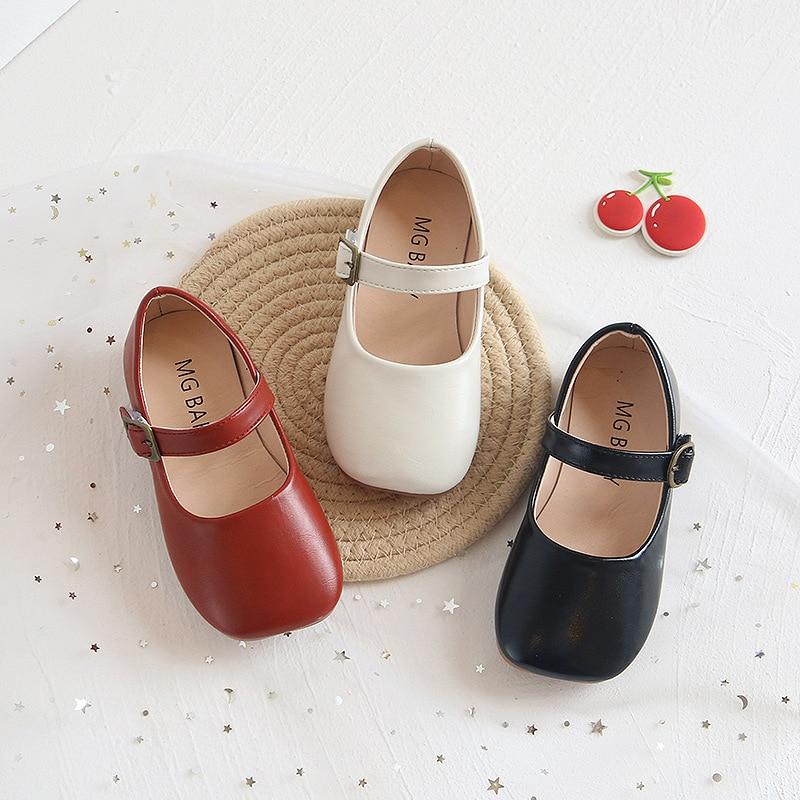 Kids Flat Shoes Children's Casual Sandals School Girls Princess Pu Leather Shoes Non-Slip Kids Retro