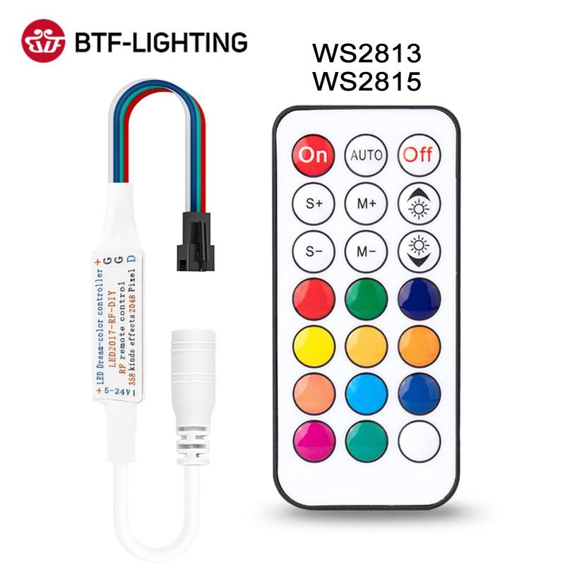WS2815 WS2813 LED 조명 컨트롤러 RF 14key 21Key 원격 무선 350 + 꿈 효과 4pin SM JST RGB IC 스트립 DC5-24V