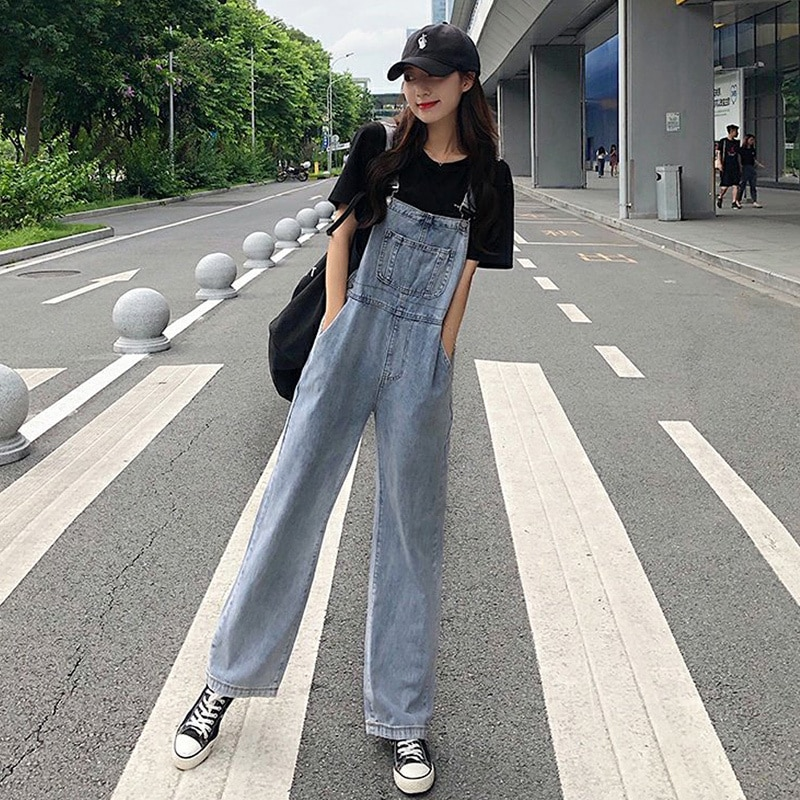 Fall 150cm Small Wide-Leg Denim Suspender Pants Women's Korean-Style Loose 2020 New Cute Japanese Style Spring and Autumn
