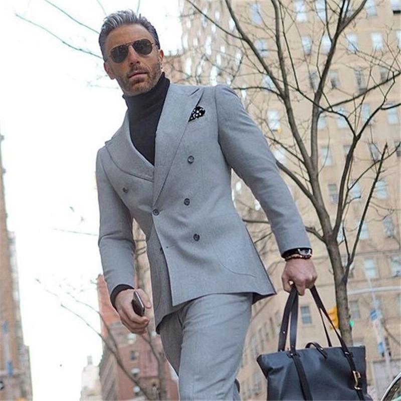 Handsome Double-Breasted Groomsmen Peak Lapel Groom Tuxedos  Men Suits Wedding/Prom/Dinner Best Blazer(Jacket+Pants+Tie) 137