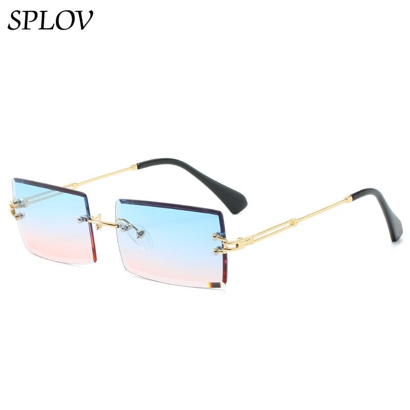 Trendy Rimless Rectangle Sunglasses New Cut Design Luxury Square Glasses for Women Men Summer Style