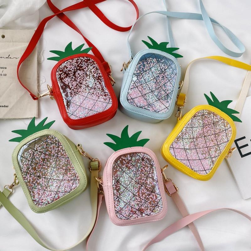 Kids Fruit Bag 2020 Summer Transparent Pineapple Crossbody Bags for Baby Girls Kawaii Small Coin Wallet Pouch Box Boy Clear Bag