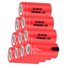 10 pcs SC 1500mah 1.2v battery NICD batterie rechargeable batteries for makita bosch B&D Hitachi metabo dewalt power tools